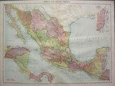 1940 MAP ~ MEXICO & CENTRAL AMERICA ~ BRITISH HONDURAS NICARAGUA PANAMA