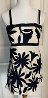 Tory Burch Blouse Top Straps Cream Colored W/Blue Floral Embroidery Woman's Sz 8