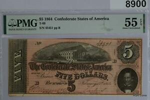 2 CONSEC SERIAL #45450 & 45451 T69 CONFEDERATE CSA $5 NOTES PMG CERTIFIED  #8900