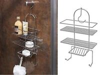 Chrome Shower Caddy Triple Organiser Hanging Hook Shelf Basket Tidy Bathroom