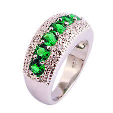 Delicate Emerald Quartz & White Topaz Gemstone Women Xmas Gift New Silver Ring