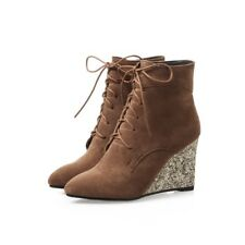 Womens Ankle Boots Pointed Toe Lace Up Wedge Heels Sequins Shining Party Shoes