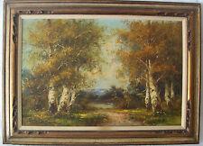 Antique Fall Landscape Oil Painting Gold Gild Frame W/Light