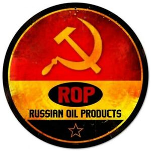 """ROP Russian Oil Products  round steel sign (pst 14"""" diameter)"""
