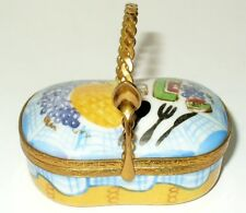LIMOGES BOX - 'WICKER' PICNIC BASKET & SPOON - WINE & CHEESE & BREAD & FRUIT