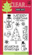 HERO ARTS Clear Stamps SNOWMAN CHRISTMAS # CL541 Tree Joyful Greeting Merry Xmas