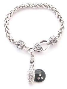 Bowling Pin Ball Black Clear Crystal Fashion Silver Chain Bracelet Jewelry