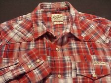 Lucky Brand Mens Small Long Sleeve Pearl Snap Multicolor Plaid Western Shirt