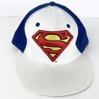 Superman Logo Snapback hat adjustable baseball cap White & Blue DC Comics