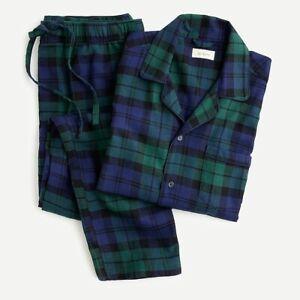 $98 NWT J. CREW Black Watch tartan men's Med or Large cotton Flannel pajama set