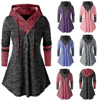 Women Casual Space dyeing Long Sleeve Hooded Tunic Tops T Shirt Blouse Plus Size
