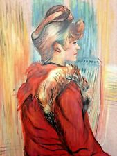 TOULOUSE LAUTREC  HANDMADE ACRYLIC PAINTING ON CARDBOARD,SIGNED,W/GALLERY STAMPS