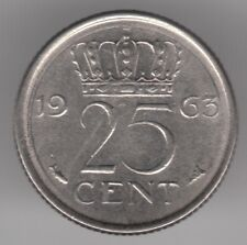 Netherlands 25 Cents 1963 Nickel Coin - Queen Juliana