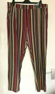 LADIES WOMEN PRETTY MARKS & SPENCER M&S STRIPE TAPERED TROUSES SIZE 20 NEW