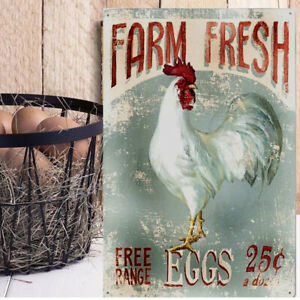 Farm Fresh Eggs Plaque Metal Sign Chicken Egg Vintage Rustic Farmhouse Art Decor