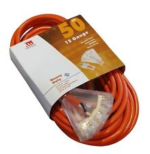 50-Foot Triple Tap 12 Gauge Extension Cord Lit Ends NEW 12/3 50 Ft Feet