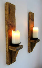 2X LARGE 60CM RUSTIC SOLID WOOD HANDMADE SHABBY CHIC WALL SCONCE CANDLE HOLDER