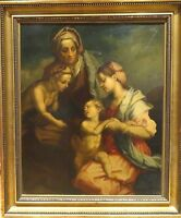 Large 17th Century Italian Old Master Holy Family Infant Christ Oil Painting