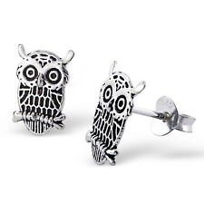 925 Sterling Silver Owl Stud Earrings (Design 2)