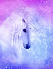 "Beautiful Unicorn flowing mane CANVAS PRINT horse fantasy poster Purple 8""X10"""