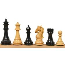 """4.4"""" Bridled Staunton Luxury Chess Pieces Only Set - Triple Weighted Ebony Wood"""