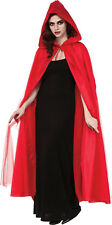 Adult Full Length Hooded Red Cape w/ Tulle Overlay Red Riding Hood Cosplay Larp
