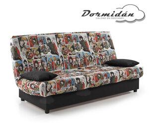 Sofas sofa cama Comic, arcón de madera, facil apertura, desenfundable