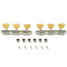 Kluson 3 per plate tuners Nickel Ivory Butterfly buttons fits Gibson,Kay,Supro