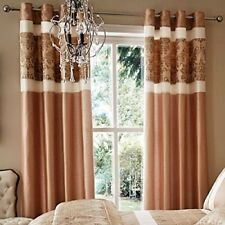 """Catherine Lansfield 46"""" x 72"""" Glamour Gold Eyelet Ring Curtains Lined ~ 46x72"""