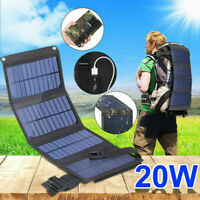 20W USB Solar Panel Folding Power Bank Outdoor Camping Charger Batte Hiking O6L2