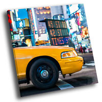 Yellow New York Taxi Cab Square Scenic Canvas Wall Art Large Picture Print