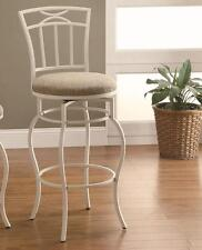 """White Metal Barstool with Cream Upholstered Seat 29""""  by Coaster 122050"""