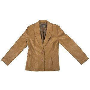 Women's River Island Size 12 Light Brown Leather Jacket Blazer 100% Leather