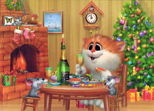 CHAMPAGNE AND CAVIAR! CAT AND MICE HAVE X-MAS MEAL Modern Russian card A.Dolotov
