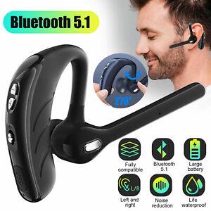 Wireless Bluetooth 5.1 Trucker Business Headset Earpiece Stereo Earbud Headphone