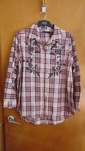 M&S Pure Cotton Check Embroidered L/Sleeve Shirt 16 Red Mix BNWT