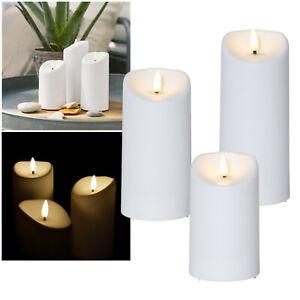 """LED Kerze für Außen """"3D FLAMME"""" mit Timer flackernd Outdoor Balkon Garten-Kerzen"""