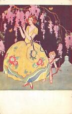 Beautiful Woman Colorful Dress & Cupid Valentine? Vintage Art Nouveau Postcard