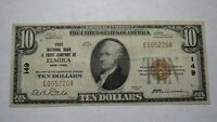 $10 1929 Elmira New York NY National Currency Bank Note Bill! Ch. #149 VF+!