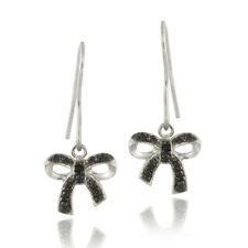 925 Silver Black Diamond Accent Bow Dangle Earrings