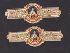 2 Anciennes  Bagues  de Cigare Label BN24102 Femme qui fume G.K.