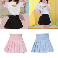 Fashion Women Mini Pleated Solid Color High Waist Tennis Skater Short Skirt Hot
