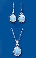 SOLITARIO Blu opale ciondolo e parure orecchini argento sterling massiccio OVALE