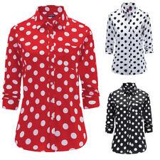New Fashion Women Polka Dot Print Blouse Long Sleeve Casual Cotton Button Shirts