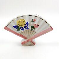 Vtg Japan Ceramic Asian Fan Wall Pocket Planter Pink Gold Rose Mid Century