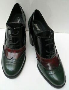 Geox Rispira Italian Patent Multicoloured Leather High Heel Shoes  Size UK 6.5