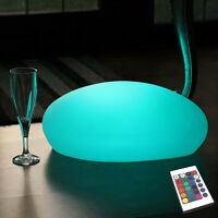 Decorative Colour Changing LED Table Lamp Rechargeable, Pebble Stone by PK Green