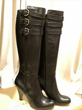 Max Studio Womens Radcliffe Knee High Leather Boots Black Size 8M