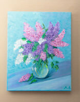 Acrylic Painting Lilac in Vase Purple Flowers Wall Decor Mother Day Gift 19x15
