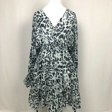 Animal Print Dress M Cold Shoulder Flowy Empire Waist Keyhole Back Long Sleeve